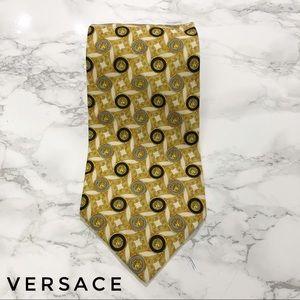 Versace Gold Baroque Diamond And Medusa Print Tie